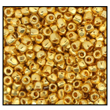 3 Cut Bead (3x) #2300 9/0 68304 24K Gold Metallic (1/10th Bunch)