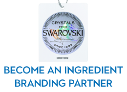This image shows a Made of Swarovski crystals tag. Join the Swarovski Branding Program and discover all of its benefits.