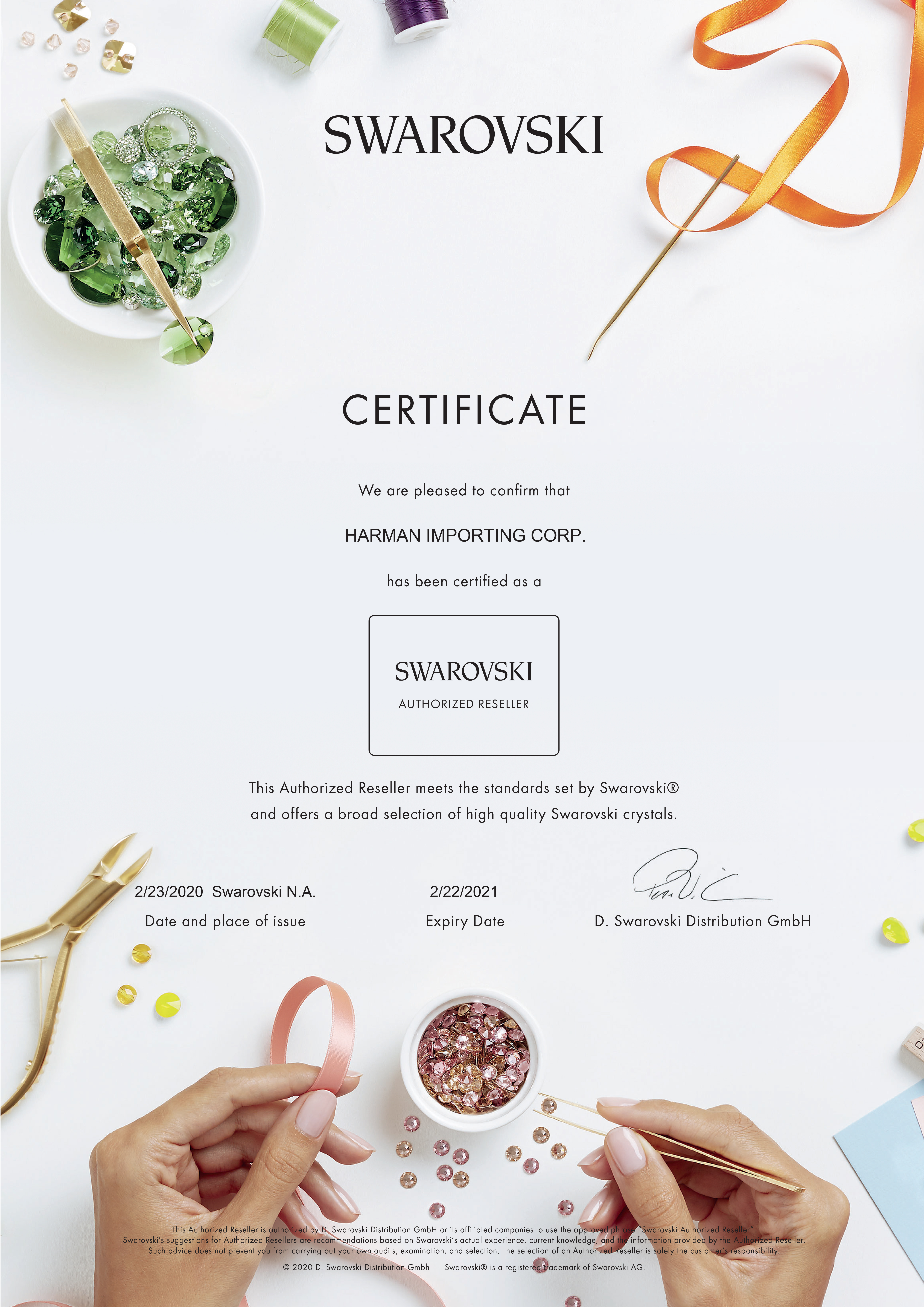Official Swarovski Authorized Reseller Certificate reads Har-Man Importing meets the highest standards set by Swarovski and has therefore been certified as a Swarovski Authorized Reseller