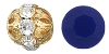 Swarovski Rhinestone Filigree Beads 9755 6mm Gold/Navy Blue (144 Pieces) - CLEARANCE