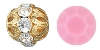 Swarovski Rhinestone Filigree Beads 9755 6mm Gold/Opaque Rose (144 Pieces) - CLEARANCE