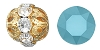 Swarovski Rhinestone Filigree Beads 9755 6mm Gold/Turquoise (144 Pieces) - CLEARANCE