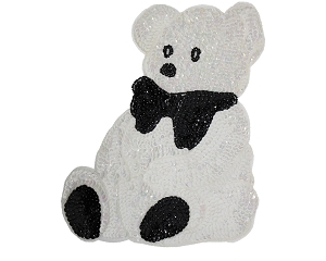 Large Bear Beaded & Sequin Applique #8893 10.5