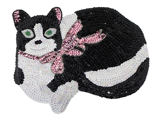 Large Cat Beaded & Sequin Applique #9278L 9.5