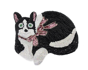 Small Cat Beaded & Sequin Applique #9278S 7.5