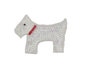 Scottie Dog Beaded & Sequin Applique #D71A 3.75
