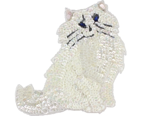 Cat Beaded/Sequin Applique #G42 7