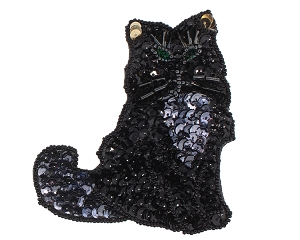 Cat Beaded/Sequin Applique #G44 3.5