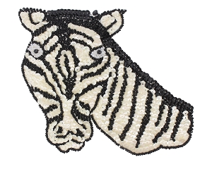 Zebra Beaded/Sequin Appique #KS8755 6.5
