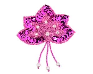 Flower with DanglesBeaded/Sequin/Pearl Applique #1464 2.5