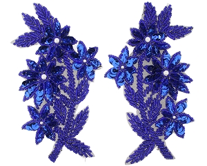 Flowers With Leaves Beaded/Sequin/Pearl Applique #K8125X 5.75