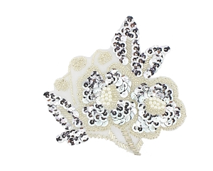 Flower Beaded/Sequin/Pearl Applique #S8925 6