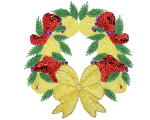 Christmas Wreath Beaded & Sequin Applique #9286L 8.5