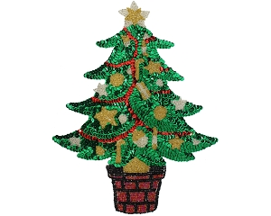 Large Christmas Tree Beaded & Sequin Applique #9289L 11