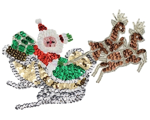 Santa and Sleigh Beaded & Sequin Applique #9294 7
