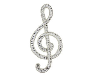 Music Note Clef Beaded & Sequin Applique #9304L 3.25