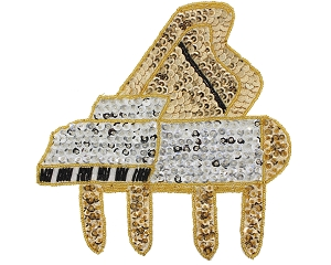 Large Piano Beaded & Sequin Applique #SV3364L 7.25
