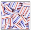 Bugle Bead #2400 #3 03930 White/Red/Blue Stripes Opaque (1/2 Kilo) (LOOSE) - CLEARANCE