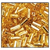Bugle Bead #2400 20mm 17020 Straw Gold Transparent Silver Lined (1/2 Kilo) - CLEARANCE