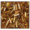 Bugle Bead #2400 #2 17070 Deep Gold Transparent Silver Lined (1/2 Kilo) - CLEARANCE