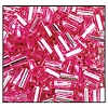 Bugle Bead #2400 #2 18275 Pink Transparent Silver Lined (1/2 Kilo) (LOOSE) - CLEARANCE