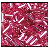 Bugle Bead #2400 #3 18277 Hot Pink Transparent Silver Lined (1/2 Kilo) (LOOSE) - CLEARANCE