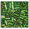 Bugle Bead #2400 20mm 57430 Peridot Transparent Silver Lined (1/2 Kilo) - CLEARANCE