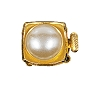 Clasps #327 Gold/Pearl 18mm 2 Rows (12 Pieces)