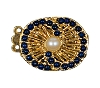 Clasps #344 Gold/Navy 23mm 2 Rows (12 Pieces)