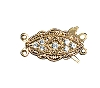 Clasps #6162 Gold/Crystal 20mm 2 Rows (12 Pieces)