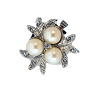 Clasps #6169 Silver/Pearl 22mm 2 Rows (12 Pieces)