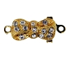 Clasps #349 Gold/Crystal 1 Row (12 Pieces)  - CLEARANCE
