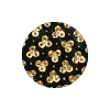European Glass Buttons #1853 Jet/Gold 18mm (12 Pieces) - CLEARANCE