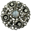 European Rhinestone Buttons #1952 Silver/Black Diamond 30mm (12 Pieces) - CLEARANCE