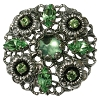 European Rhinestone Buttons #1956 Silver/Peridot 30mm (12 Pieces) - CLEARANCE