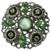 European Rhinestone Buttons #1957 Silver/Peridot/Moonshine 30mm (12 Pieces) - CLEARANCE