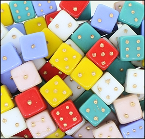 Pressed Glass Dice #4011 Color Mix 11mm (180 Pieces) - CLEARANCE