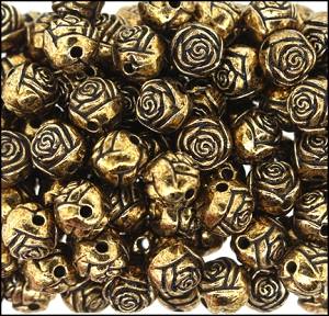 Plastic Rosebud Beads #235 9mm Antique Gold (1,000 Pieces) - CLEARANCE
