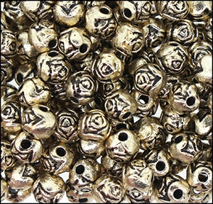 Plastic Rosebud Beads #235 6mm Antique Light Gold (1,000 Pieces) - CLEARANCE