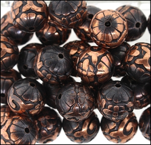 Plastic Etched Beads #8640 14mm Antique Copper (72 Pieces) - CLEARANCE