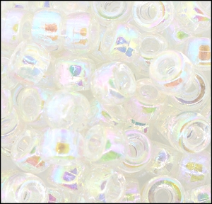 Plastic Pony Beads #610 9mm Crystal AB (1,000 Pieces) - CLEARANCE