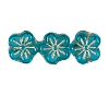 Flower Beads #4705 Aqua/Gold 8mm (Side Holes) (600 Pieces)