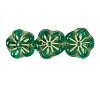 Flower Beads #4705 Emerald/Gold 8mm (Side Holes) (600 Pieces)