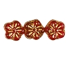 Flower Beads #4705 Light Siam/Gold 8mm (Side Holes) (600 Pieces)