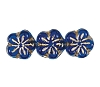 Flower Beads #4705 Sapphire/Gold 8mm (Side Holes) (600 Pieces)