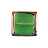 Handmade Square Bead #7641 Emerald 13mm (12 Pieces)