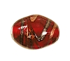 Handmade Oval Glass Bead #7676 Red 14x10mm (12 Pieces)