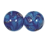 Handmade Round Glass Bead #7688 Sapphire 14mm (12 Pieces)