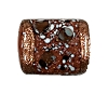 Handmade Rectangle Bead #7697 Brown 11x9mm (12 Pieces)