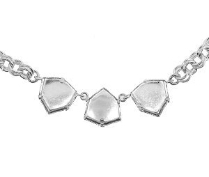 Necklace Setting #7902 Rhodium for 4706 17mm Stones (2 Pieces)